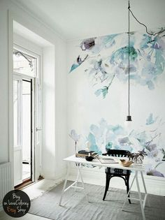 Blue vintage Spring Floral Wallpaper Watercolor wallpaper Wall mural Accent wall Peel and stick wall decor Nursery wall decor 2019 Blaue Jahrgang Blumen abnehmbare Tapeten Watercolor Wallpaper, Watercolor Walls, Abstract Watercolor, Photo Wallpaper, Wall Wallpaper, Wallpaper Ideas, Trendy Wallpaper, Gold Lace Wallpaper, Office Wallpaper