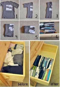 Aprenda a organizar camisetas em gavetas   Artesanato na Prática