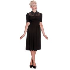Hell Bunny Connie Black 1940s 50s Wartime Landgirl Victory Tea Dress