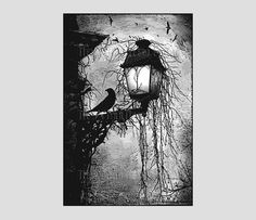 Pattern $8.50 Crow on Lamppost Pattern, Cross Stitch Pattern, Crow Cross Stitch, Crow Silhouette, Needlepoint, Crows by NewYorkNeedleworks on Etsy