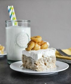 Banana Bread Tres Leches Cake with Caramelized Bananas | howsweeteats.com