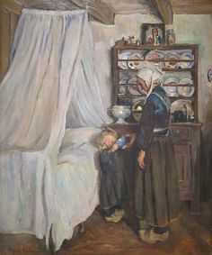 """'Breton Interior'(1907) by Elizabeth Nourse....Elizabeth Nourse (1859 – 1938 was a realist-style genre, portrait, and landscape painter born in Ohio. She also worked in decorative painting and sculpture. Described by her contemporaries as """"the first woman painter of America"""" and """"the dean of American woman painters in France and one of the most eminent contemporary artists of her sex"""