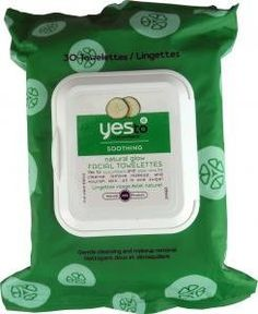 Yes To Cucumbers Facial Towelettes, Natural Glow, 30 ct. by YES TO CUCUMBERS. $11.99. Number of Pieces: 30. Health Facts: Hypoallergenic, Alcohol-Free, Non-Comedogenic. Health Concern: Normal Skin, Skin Health, Sensitive Skin. Product Form: Wipe. For Use On: Face. Used For: Cleansing. Scent: Unscented. Yes To Cucumbers Face Cleanser Towelettes gently remove dirt, sweat and makeup without the need to rinse. It's an exfoliant, detoxifier and rejuvenater all wrapped u...