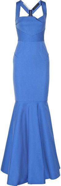 Roland Mouret Blue Lunenberg Stretch Cotton Gown    jaglady
