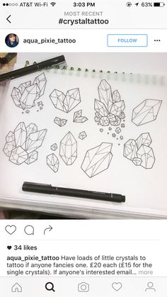 Fabulous Drawing On Creativity Ideas. Captivating Drawing On Creativity Ideas. Tiny Tatoo, Tattoo Drawings, Art Drawings, Pixie Tattoo, Crystal Drawing, Crystal Tattoo, Doodles, Tattoo Portfolio, Sketch Inspiration