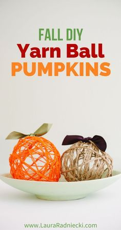 Yarn balls made with balloons are a fun, easy DIY craft. They can be made into easy yarn ball pumpkins, the perfect Halloween and Thanksgiving fall decor! Thanksgiving Crafts, Thanksgiving Decorations, Fall Crafts, Holiday Crafts, Fall Decorations, Halloween Decorations, Holiday Decor, Yarn Crafts For Kids, Easy Diy Crafts
