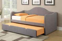 Upholstered full size daybed with trundle and orange seat …