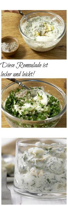 Tartar sauce - smarter - The easy sauce classic: with a lot of yoghurt and herbs: remoulade – smarter (basic recipe) eatsm - Egg Recipes, Pasta Recipes, Salad Recipes, Chicken Recipes, Chutneys, Sauce Tartare, Vegetarian Recipes, Healthy Recipes, Tartar Sauce