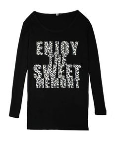 Leopard Letter Print Long Sleeves T-shirt