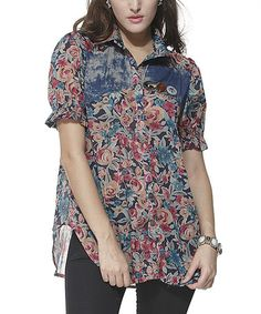 Love this Blue & Red Floral Button-Up on #zulily! #zulilyfinds