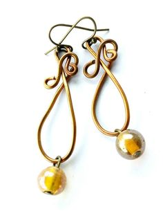 Loopy Yellows Earrings Loop Yellow Glass Bead by Nevearland, $10.00