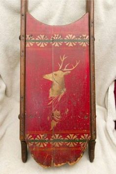 Vintage C.1880-1910 Original Paint Decorated Red Sled with Buck Deer and Design