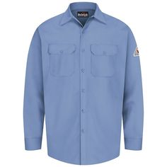 Men's Bulwark FR Excel FR Work Shirt, Size: Medium, Blue
