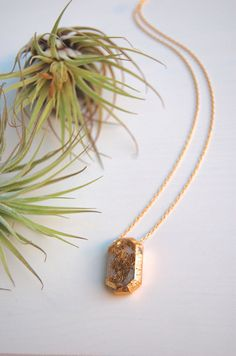 GEMSTONE 3d printed necklace // distressed gold foil  by LanaBetty, $48.00