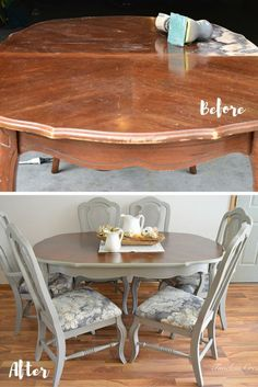 French-style Dining Set - Dining Set - Ideas of Dining - frenchstyle-dining-set Refurbished Furniture, Repurposed Furniture, Furniture Makeover, Painted Furniture, Painted Wood, Dinning Room Tables, Diy Dining Table, Dining Room Furniture, Dining Sets