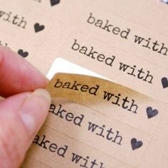 80 BAKED WITH LOVE & Heart in Typewriter font - Brown Kraft Sticker Labels - x 1 inch - packaging, baked goods, care packages Bake Sale Packaging, Brownie Packaging, Baking Packaging, Bread Packaging, Packaging Stickers, Dessert Packaging, Food Packaging Design, Packaging Ideas, Bake Sale Sign