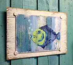 Original Fish Painting  Blue Fish  Beach House by CastawaysHall, $59.00