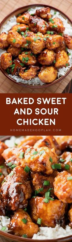 Baked Sweet and Sour Chicken! Skip the takeout and have a Chinese favorite at home: a delicious sweet and sour sauce poured over tender chicken with a crispy breading. | HomemadeHooplah.com #chinesefoodrecipes