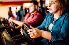 creative non traditional engagement photo ideas inside an arcade in texas