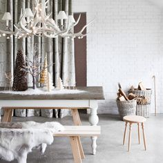 Love this gorgeous Christmas dining room scheme complete with stunning centrepiece and plenty of cosy faux fur!