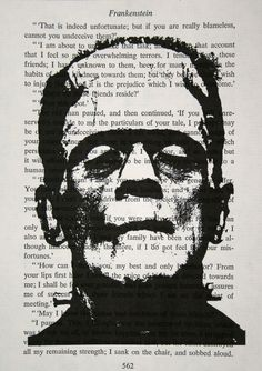 Frankenstein Print on Vintage Frankenstein Book Page - 5 x 7. $10.00, via Etsy.