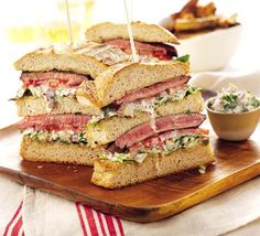 This is Gordon Ramsey's way of serving: Triple-decker steak sandwich. its on sourdough bread and has a sauce made fresh on the side thats a bit like tartare sauce. I think making fresh sauces / sides are important.