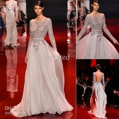 Wholesale Evening Dresses - Buy Elie Saab Fall Winter 2014 See Through Long Sleeve Evening Dresses Formal Gown With Sexy Bateau Backless Crystal Scoop, $175.0 | DHgate