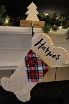 Personalized Dog Bone Christmas Stocking with Monogram or Name Pet Christmas Stockings, Diy Stockings, Christmas Stocking Pattern, Christmas Sewing, Christmas Makes, Noel Christmas, Merry Little Christmas, Christmas Ornaments, Christmas Projects