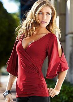 Venus Surplice Top Style #Z24151 | http://www.venus.com/viewproduct.aspx?BRANCH=7~63~&ProductDisplayID=16010&dept=Venus+Clothing-Tops&prod=surplice+top