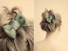 Messy bun with a hair bow.way better than a chignon! Bow Buns, Miracle Woman, Coiffure Hair, Smoky Eyes, Corte Y Color, Look Girl, Good Hair Day, Fairy Dust, Hairbows