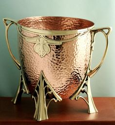 Carl Deffner Art Nouveau wine champagne cooler, copper and brass, Esslingen, Germany