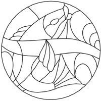 stained glass fish design. Hope to use this as a mosaic pattern.
