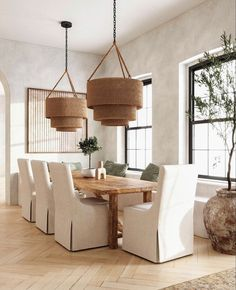 Dining Nook, Dining Room Design, Dining Room Chairs, Style Californien, Modern Dining Room Lighting, Dining Chair Slipcovers, Room Lights, Ceiling Lights, Nooks