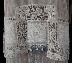Embroidered lace/tulle tea dress, c.1910. I have this tingly feeling that I'm looking at a cool way to use crochet lace motifs.