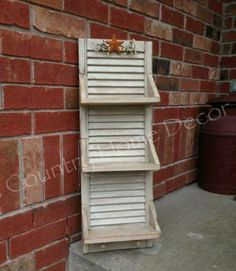 Shutters repurposed into Shelves roller shutters converted into shelves, . - Shutters repurposed into shelves, shutters turned into shelves, # stores Chec - Plastic Shutters, Diy Shutters, Window Shutters, Bedroom Shutters, Window Frames, Shutter Shelf, Shutter Doors, Shutter Projects, Wood Projects