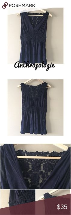 "Anthropologie Deletta top XS Navy blue, almost purple in sunlight Anthropologie Deletta V-neck sleeveless top, 100% rayon. Great used condition and super cute! Lace detail across back and cinched detailed material around waist. 13.5"" hanging armpit to armpit, 25"" long! Bundle up or make an offer Anthropologie Tops"