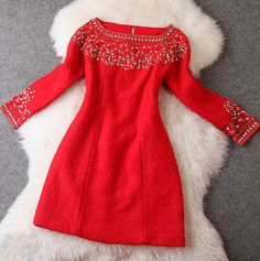 Slim beaded long sleeve package hip Dress RT11108ER