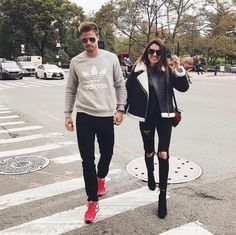 Insta Roundup   Hello Fashion. Woman Outfit: Black sweater+black ripped denim+black ankle boots+black leather jacket wizh white fleece+black crossbody with a burgundy pom-pom+sunglasses. Fall Casual Outfit 2016