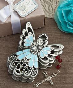 Blue and Pewter Color Angel Design Trinket Box - At Fashioncraft, we understand that you want favors that are pretty AND useful. http://www.favorfavorbaby.com/p-8674.htm