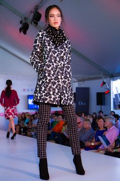 Print coat, fur scarf and pants from Weekend by MaxMara, Oakridge Centre Fashion Show at Luxury & Supercar Weekend - Photo: Jose Santos http://styledrama.com/2014/09/10/fall-silhouettes-youll-want-now/