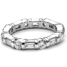 Platinum 1 1/2 Carat round & Baguette Diamond full Eternity Ring