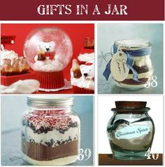 Great ideas for gifts in a jar... (now I know what to do with all those baby food jars I have hanging around)