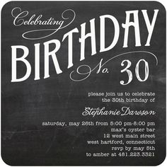 Adult Birthday Party Invitations Charming Chalk - Front : Milk