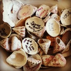Create a bowl with shells that guest sign! Love this for the girls friends to sign at their parties... great keepsake <3 store in a glass jar/
