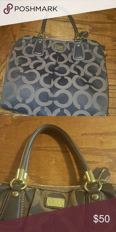 """Coach Kristin Opera Art Sateen Pleated Satchel Coach Kristin Opera Art Sateen Pleated Satchel. Large brown Coach purse. Color is slightly darker at the bottom due to use. Inside is lavender. Inside zip, cellphone and multifunction pockets. Handles with 6 1/2"""" drop. 12"""" L x 11"""" H x 3"""" W Coach Bags Shoulder Bags"""