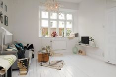Small and Cozy Apartment with Mezzanine in Sweden Decor, Home Living Room, Interior, Home, House Interior, White Interior, Cozy Apartment, Interior Design, Home And Living