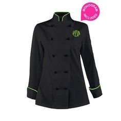 Women's Black Chef Coat - Lime Green piping. Add you name or monogram embroidered