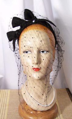 Juliette Cap, Circa Late 30s to 40s, Black Spangled Loops & Veil