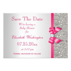 Hot Pink Bow Diamonds Save The Date Baby Shower Personalized Invites