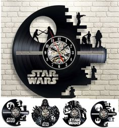 Vinyl Record Design Wall Clock Fashion Creative Clock CD Vinyl Disc Wall Clock Movie STAR WARS Themed Home Decor 3D Hanging Watc